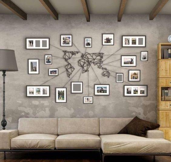 Geometrische Weltkarte Aus Metall Weiss Schwarz Gold Bronze Grosse Grosse Wanddeko Wohnzimmer Wohnzimmerwand Wandkunst Wohnzimmer