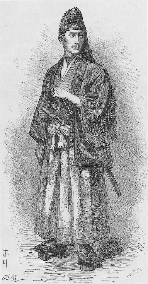 "Eugène Collache was an officer of the French Navy in the 19th century, who deserted with his friend Henri Nicol to rally other French officers, led by Jules Brunet, who had embraced the cause of the Tokugawa Shogunate in the Boshin War.  In his 1874 book ""Une aventure au Japon 1868-1869"", he wrote, ""It was the first time a European thus crossed Japan, and everybody wanted to see him; but my hairless face, my suntanned skin, and my Japanese clothes misled the curious."""