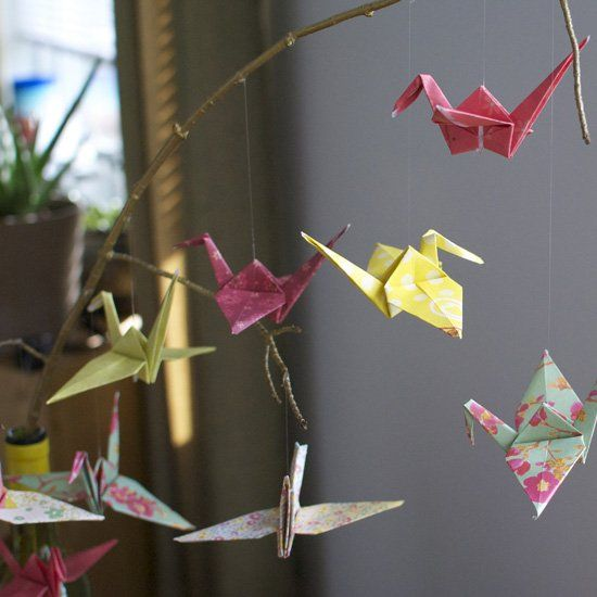 A pretty way to display these lovely little paper cranes! Don't forget to make a wish!