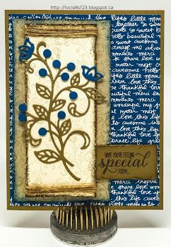 Linda Vich Creates: Flourish Thinlits For Global Design Project. Shabby chic style card using the Flourish Thinlits. #gdp040