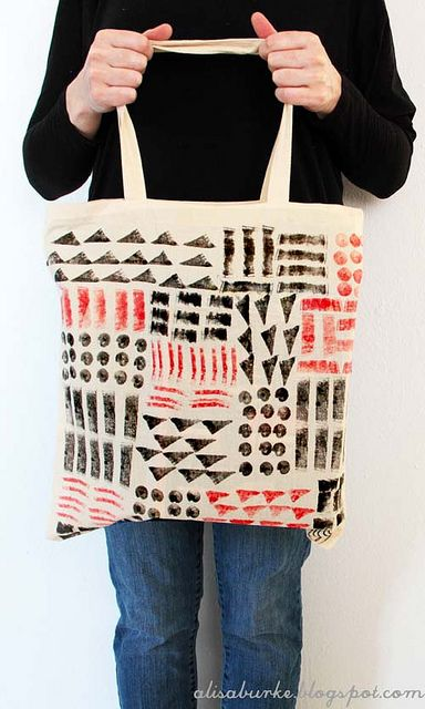 Potato/carrot/fruit print geometric market tote. think of the possibilities with kids...