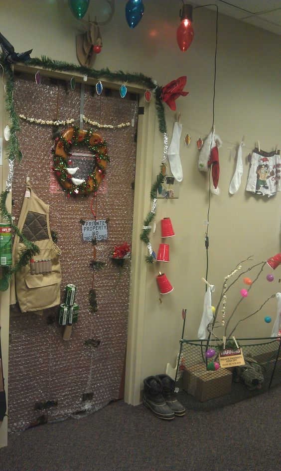 """Door #3 ...Outdoor Christmas...these door decorations expand out into the hallway! Talk about an """"A"""" for effort!"""