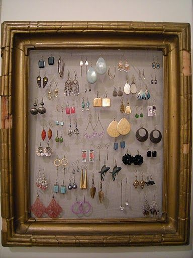 Good idea - a great display for earrings and they won't get lost either!