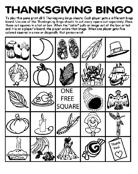 thanksgiving coloring pages Thanksgiving Bingo Board No