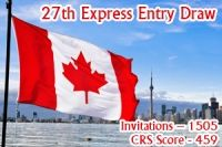 Canada Express Entry Latest 27th Draw has Issued 1505 ITA (Invitation to Apply) with CRS Score 459 for permanent residency.