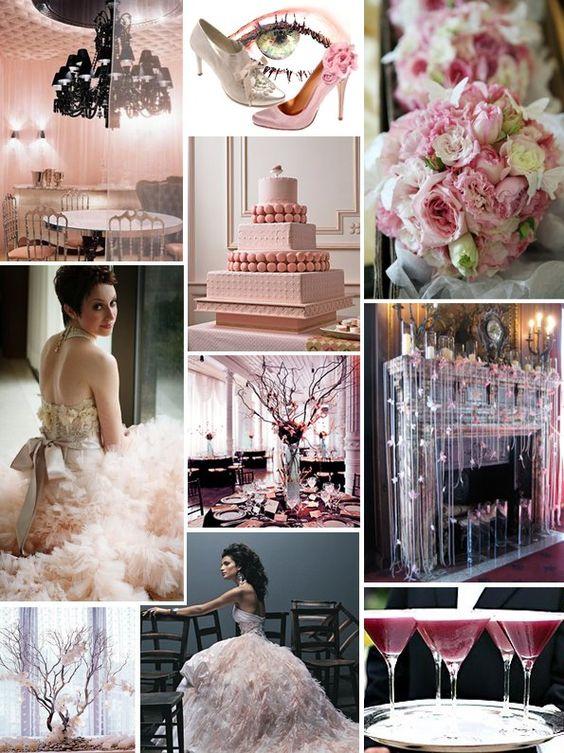 wedding color scheme; blush, ebony and pewter
