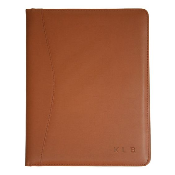 Personalized Royce Leather Pad Portfolio Tan With Elm