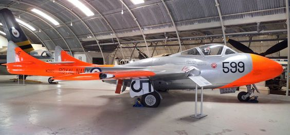 The Fleet Air Arm operated De Havilland Vampires for Hal Far airfield on Malta. Here displayed at the Malta Aviation Museum.