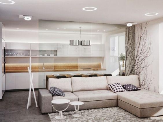 wohnzimmer-kueche-glas-trennwand-beige-weiss-holz-arbeitsplatte - arbeitsplatten für die küche