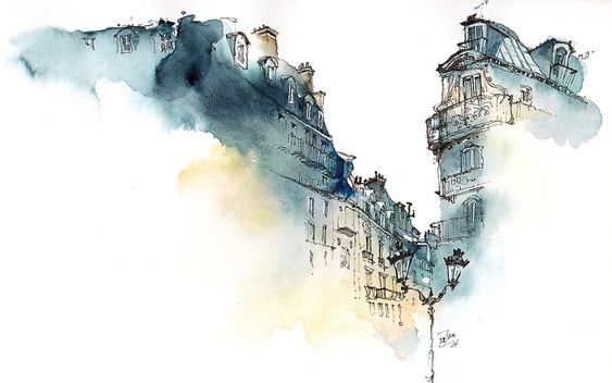 Elusive Architecture in Watercolors of Korean Artist Sunga Park: