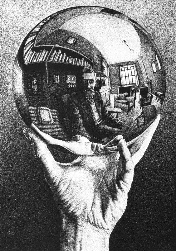 MC Escher (1898-1972), Mano con sfera riflettente - Autoritratto Hand with Reflecting Sphere, self portrait  [On http://on.fb.me/ZPdf4K]