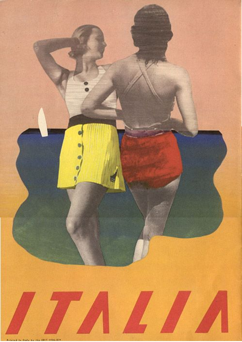 Italia, 1936. Cover to a travel magazine published by he Ente Nazionale Industrie Turistische (ENIT - Italian State Tourist Department).