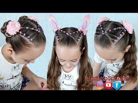 Penteado Infantil De Ligas Com Orelhinhas Para Pascoa Easter Hairstyle With Rubber Band Y Easter Hairstyles Cute Toddler Hairstyles Toddler Hairstyles Girl
