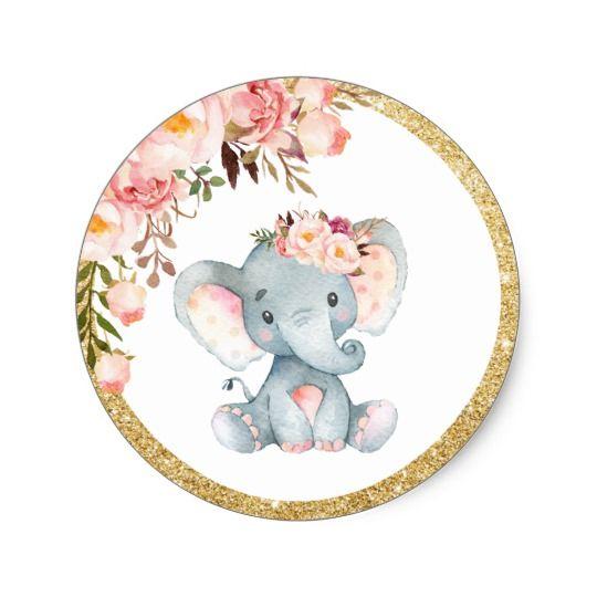 Pink Elephant Baby Shower Favor Sticker Labels Zazzle Com Au Elephant Baby Shower Favors Pink Elephants Baby Shower Baby Shower Favor Stickers