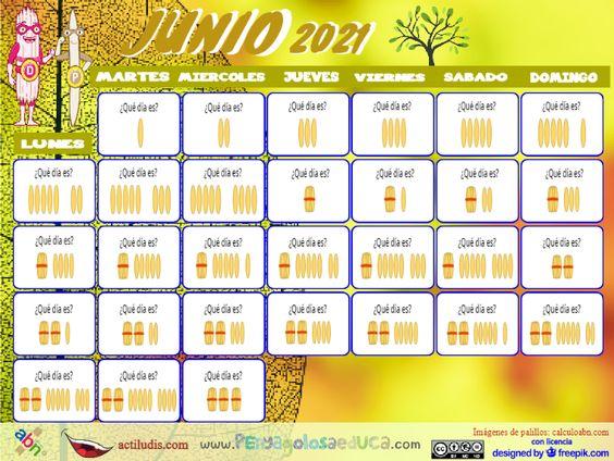 Calendario palillos infantil ABN – Junio 2021