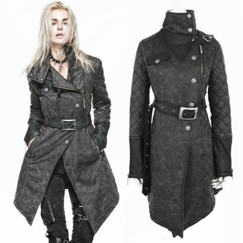 Black Leather Belted Gothic Steam Punk Military Trench Coats Men