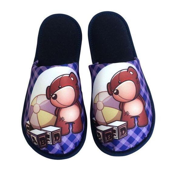 Pantufa Infantil Urso Fofo Azul Marinho > Conforto Store