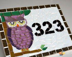"""Placa Número De Casa Mosaico """"Coruja II"""""""