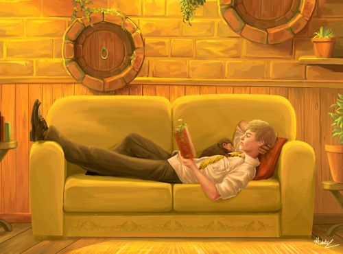 Newt Scamander in the Hufflepuff Common Room (+ the niffler and picket because I like to imagine they all knew each other way back then)