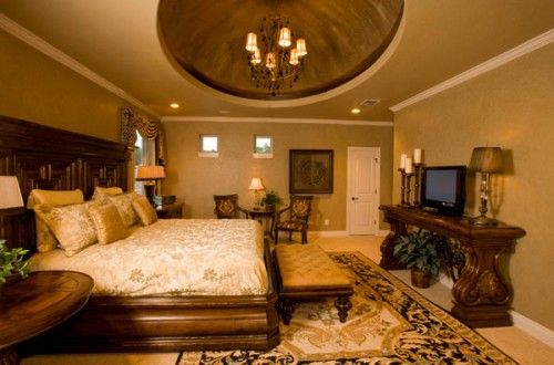 The Brown Table Of Extravagantly Beautiful Tuscan Style Bedrooms
