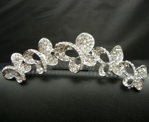 WBH119 Crystal Butterflies Tiara Crown Hair Comb Bridal Wedding Pageant Prom