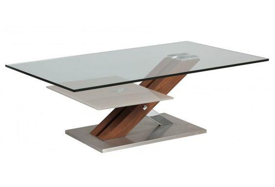 Table Basse verre socle bois