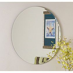 @Overstock.com - Frameless Round Beveled Mirror - Add an elegant touch to any interior space with the frameless round beveled mirrorMirror expertly crafted strong 3/16-inch glass and metalWall mirror boasts a stylish contemporary design  http://www.overstock.com/Home-Garden/Frameless-Round-Beveled-Mirror/3511486/product.html?CID=214117 $91.99