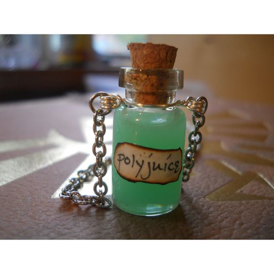 Glass Miniature Polyjuice Potion Necklace w/ handmade label ($14) ❤ liked on Polyvore