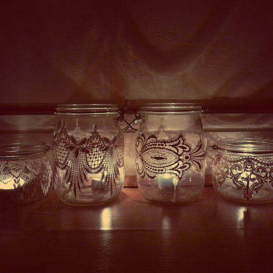 Wedding decoration glass storage jar upcycled w venice