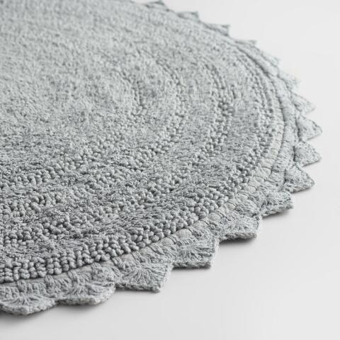 Round Frost Gray Cotton Bath Mat
