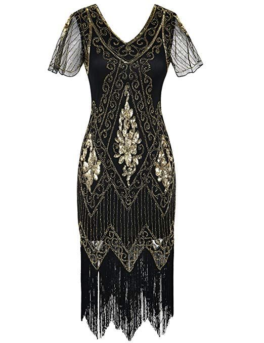 1920s Dresses Uk Flapper Gatsby Downton Abbey Dress 1920s Fashion Dresses Cocktail Dresses With Sleeves Black Short Sleeve Dress