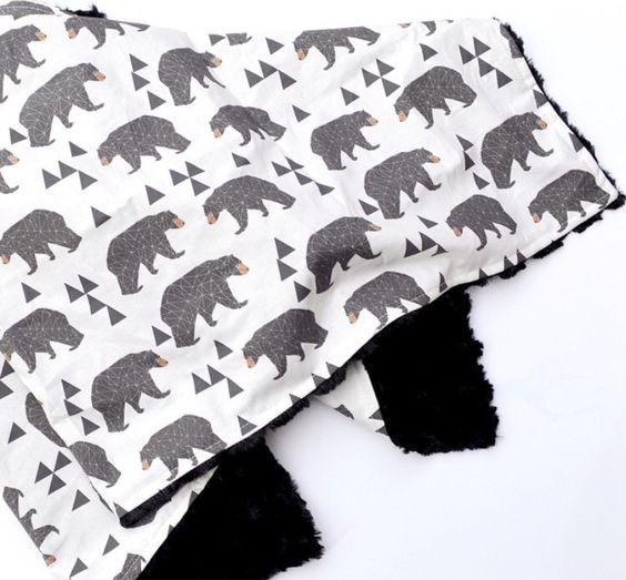 Modern Geometric Bear Faux Fur Baby Blanket  Instagram: @loveandlullabies
