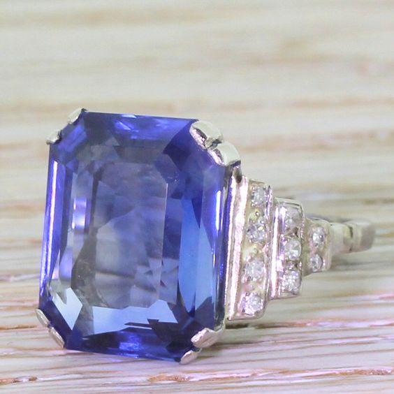 Art Deco 10.82 Carat Emerald Cut Natural Sapphire Ring, circa 1935 by GatsbyJewels on Etsy https://www.etsy.com/listing/230951665/art-deco-1082-carat-emerald-cut-natural