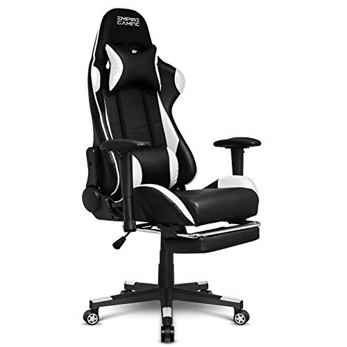 Empire Gaming Fauteuil Gamer Racing 800 Series Noir Blanc Repose Pieds Forme Siege Baquet Sport Ultra Confortable Ac Coussin Lombaire Fauteuil Repose Pieds
