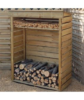 We have about 100 X more logs to store than this, but I like the kindling rack at the top.