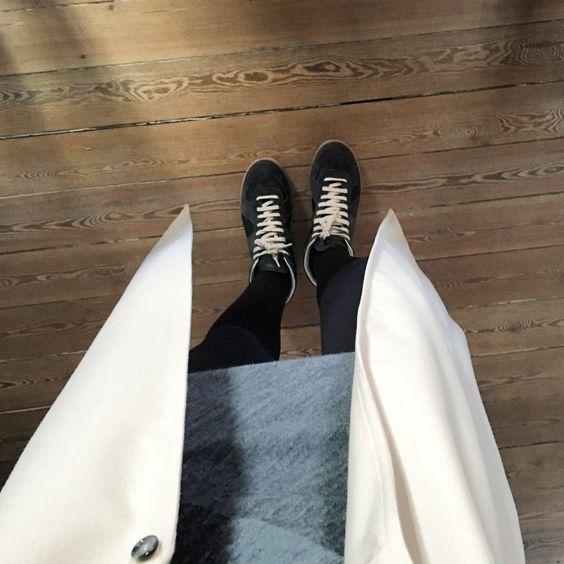 Stefanel dress, Maison Martin Margiela sneakers, Ilja Visser Amsterdam coat