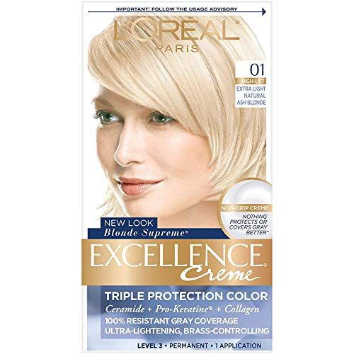 L Oreal Paris Excellence Creme Permanent Hair Color 01 Extra Light Ash Blonde Pack Of 1 100 Gray Coverage Hair Dye In 2020 Grey Hair Coverage Permanent Hair Color Light Ash Blonde