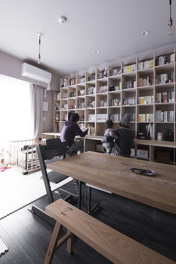 リビング学習 インテリア 賃貸 本棚 壁面 デスク アイデア
