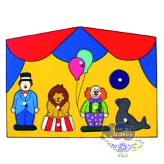 Quebra Cabeça Grande Circo, Quebra Cabeça de Pinos de Madeira, Quebra Cabeça Pipoquinha, Brinquedos Pipoquinha, brinquedos educativos, brinquedos