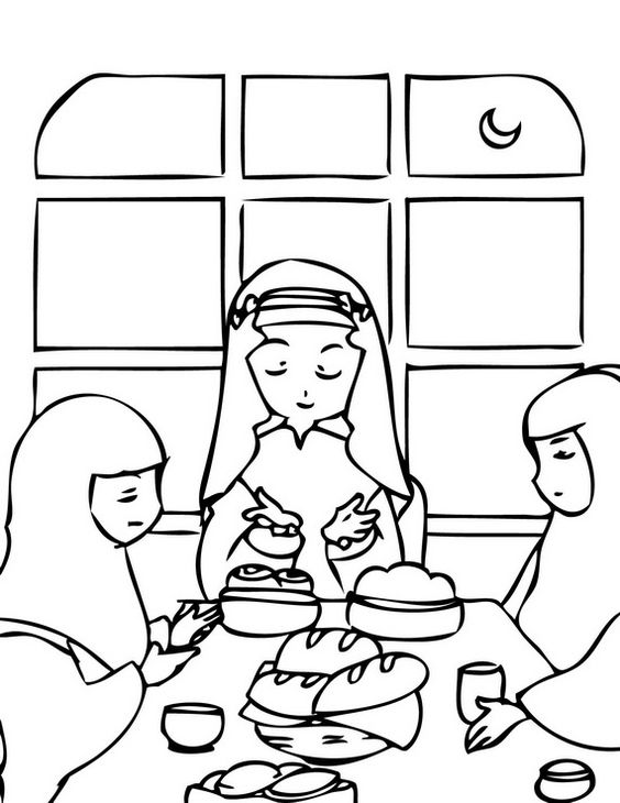 Muslim Family Praying Before Eating Dua Great For Illustrating The Need To Thank Allah And
