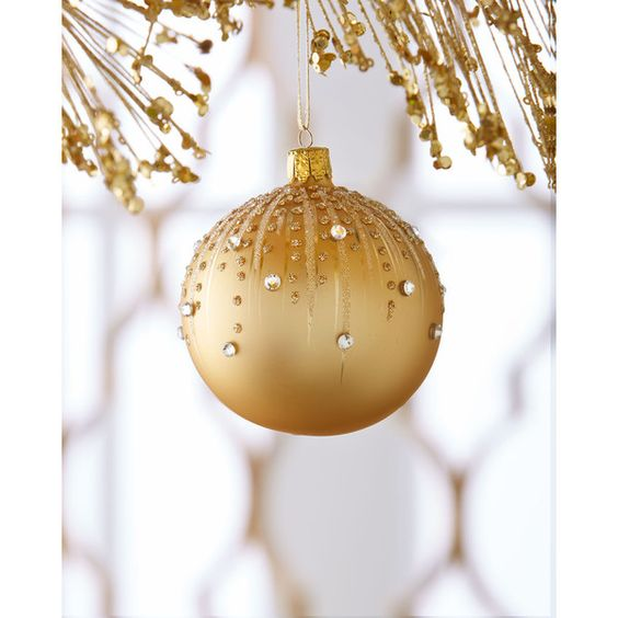 Golden Embellished Ball Christmas Ornament (42 AUD) ❤ liked on Polyvore featuring home, home decor, holiday decorations, gold, hand-blown glass christmas ornaments, ball ornaments, xmas ball ornaments, christmas ball ornaments and christmas tree ball ornaments: