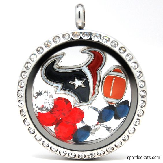 Houston Texans charm locket necklace from SportLockets.com.  Includes NFL licensed charm, football charm and Swarovski crystals in team colors.  Available in silver, black or gold with your choice of chain.