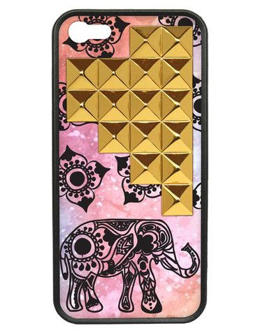 Elephant Gold Studded Pyramid iPhone 5/5s case #studded,  wildflower cases