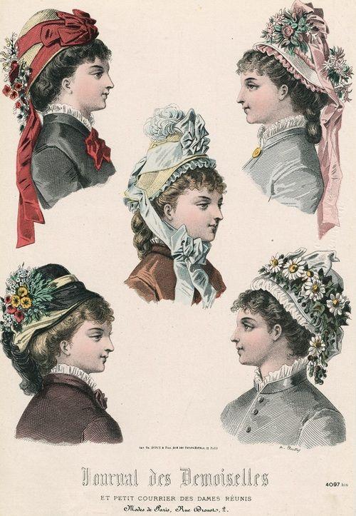 April bonnets, 1877 France, Journal des Demoiselles et Petit Courrier des Dames Réunis