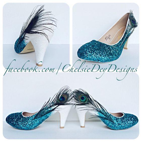 Sarcelle et blanc Ombre Fade Peacock Feather par ChelsieDeyDesigns