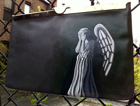 Sooo awesome!! Weeping Angels hand painted handbag by Cat P.
