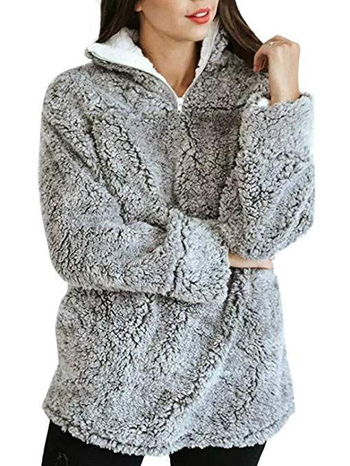 Damen Sweatshirt Pullover Pulli T-Shirts Winter Teddy Fleece Warme Jumper Tops