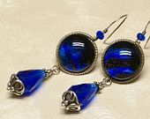 Cobalt blue drops, sterling silver wire wrapped dichroic glass earrings