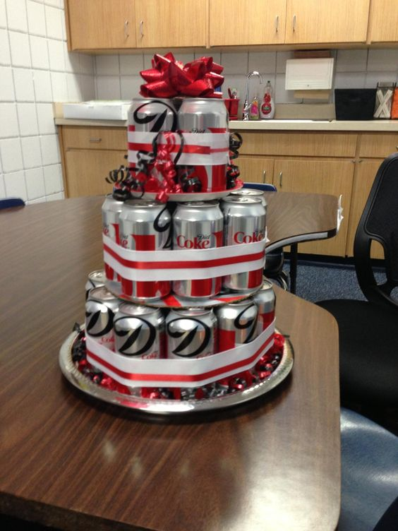 Birthday Cake Made With Soda Cans And Sweets