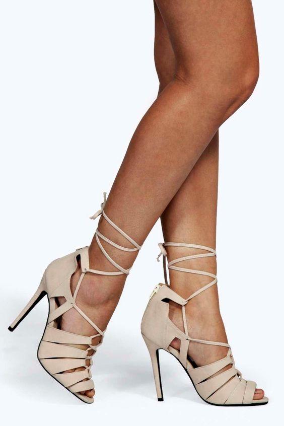 Zoe Lace Up Caged Gladiator Heels | Gladiator Heels, Gladiators ...